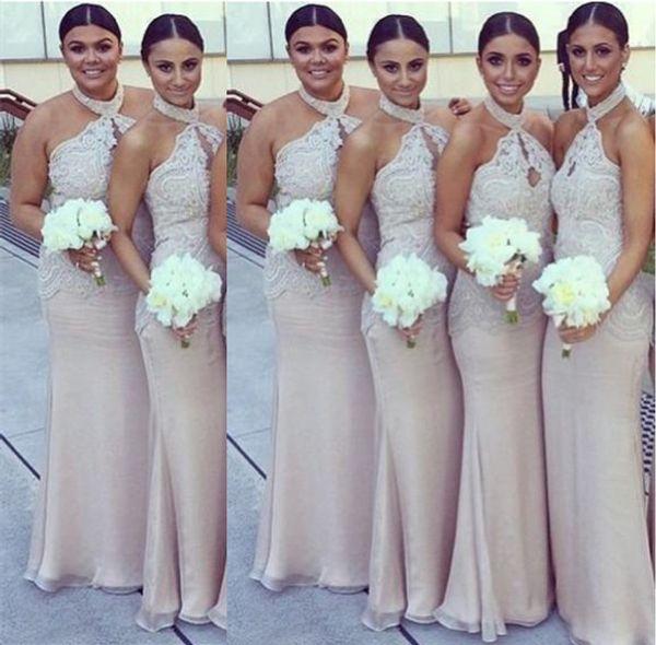 Halter Bridemaid Dresses Applique Lace Dresses Bridesmaid Robes Cheap Plus  Size Dress Convertible Dresses Robes De Demoiselle D\'Honneur Designer Gowns  ...