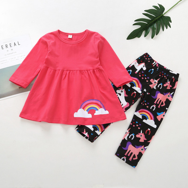 0-2 years baby girls outfits rainbow printed cotton blouse shirt+pony horse pants 2pcs clothing set infant long sleeve autumn spring suit