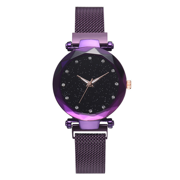 Moderne Marken-Frauen-Luxusuhr-Edelstahl-Maschen-Designer passt Damen-sternenklaren Himmel-Quarz-Armbanduhren Uhr-Geschenke auf