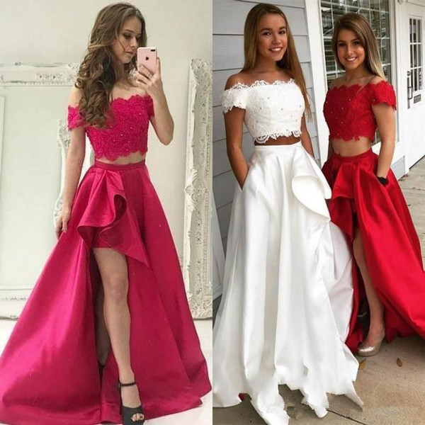 2 Pieces Prom Dresses Short Sleeve Off Shoulder Side High Split Beaded Lace Satin Girls Evening Dress Formal Party Gown Plus Size