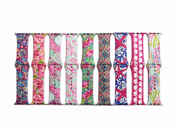 Lilly Inspired Pulitzer For Apple Watch Band,Soft Silicone Woman Patterned Style Replacement Strap Wrist Band for Apple Watch Series 2/3/4