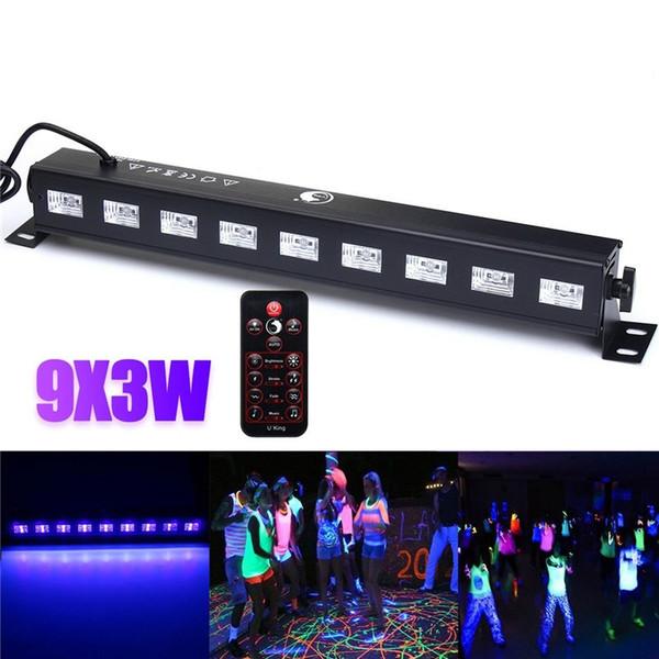 27w Led Bar Black Light UV Purple LED Wall Washer Lamp 9x3W Luces de paisaje Efecto de iluminación de escenario Light o DJ Party Christmas