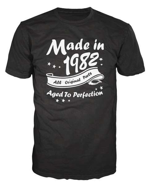 Made In 1982 All Original Parts Funny Birthday Anniversary Party T-Shirt T Shirt Men's Designer Short Sleeve Fashion Custom 3XL Family T-Shi