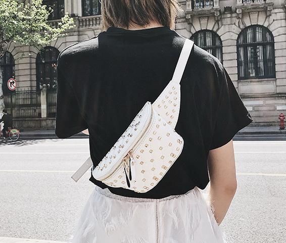 New women rivets waist bust bags lady shoulder Crossbody messenger purses female fashion casual black/white color no771