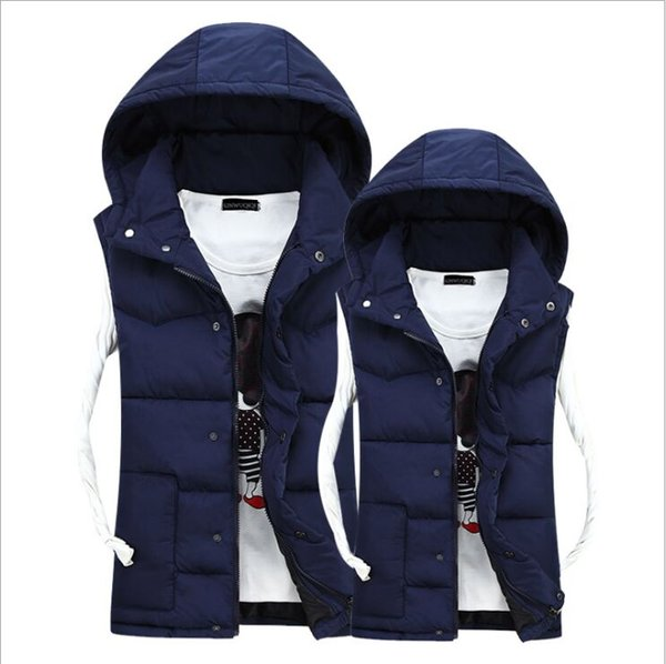 Wholesale New Autumn Winter Casual Hooded Vest Men High Quality Cotton-padded Waistcoat Lover Comfortable Couples Sleeveless Jack (c091