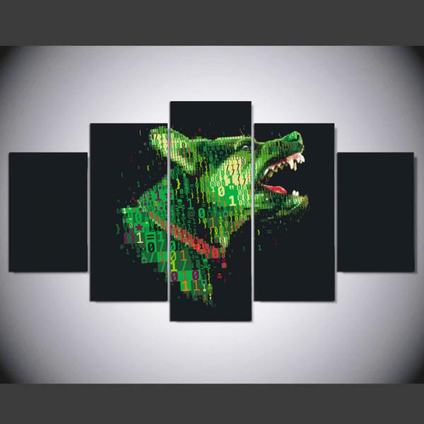 LARGE 5Panels Animal Digital Dog HD Decor Giclee Canvas Prints Home Decor interior (No Frame)