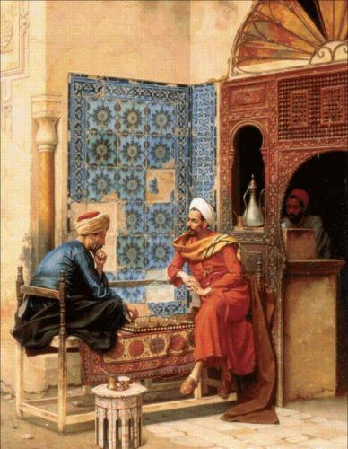 High Quality Handpainted & HD Print Art oil painting Male portraits Arab people playing The Chess Game Home Decor Wall Art On Canvas p103