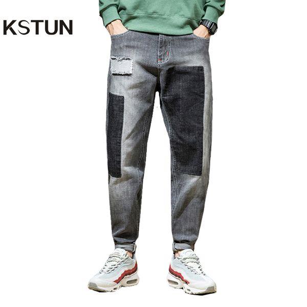 wholesale Jeans Men Japan Harem Pants Ripped Patched Hip hop Joggers Distressed Biker Jeans Grey Stretch Casual Denim Trousers Boys