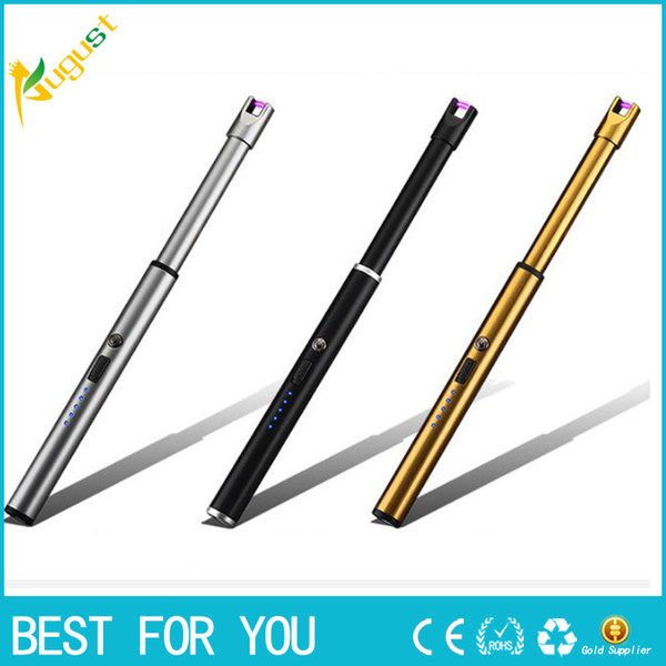 New Hot Long BBQ Plasma Arc Lighter Usb Electronic Cigarette Lighter Flameless Windproof Metal Torch Candle Lighter for Outdoor Camping
