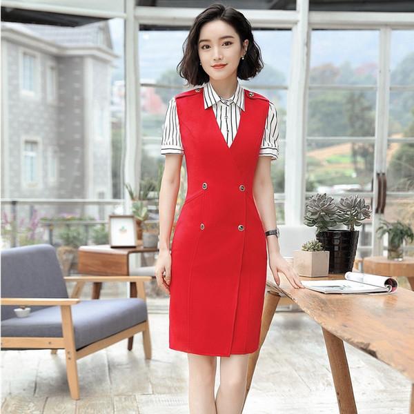 Nouveauté Rouge Mode Mince Uniforme Styles Robes Et Blouse Pour Dames D'affaires Femmes D'été Ensembles Ensembles Vêtements Féminins