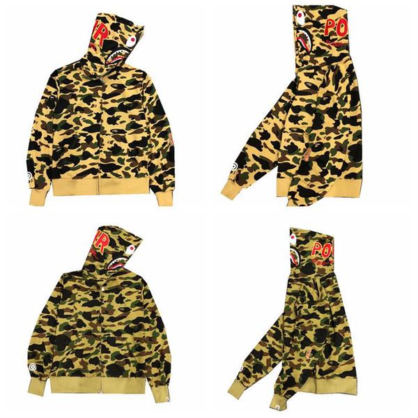 2018 New Wave Card Hello Shark Ape Sweatershirt Young Character Camouflage maglione sottile Off Casual uomo Cappotto con cappuccio bianco