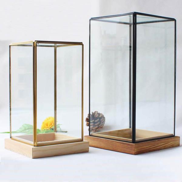 New Miniature Glass Terrarium Geometric Diamond Desktop Garden Planter For Indoor Gardening Home Decor Vases With Wooden Pedestal FWX9-673