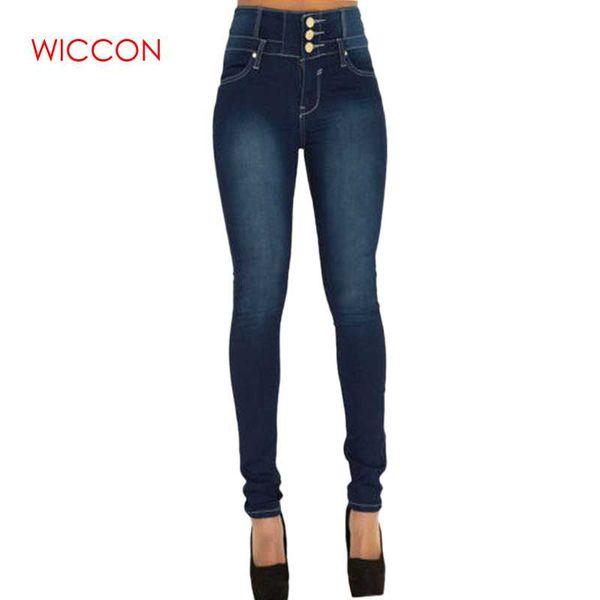 New Arrival Wholesale Woman Denim Pencil Pants Casual Vintage Button Fly Stretch Jeans High Waist Denim Trousers Women WICCON