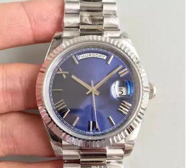 2018 Hot montres de sport pour hommes DAYDATE 228239 40MM cadran bleu asiatique 2813 mouvement automatique en argent 316 saphir en acier inoxydable de qualité