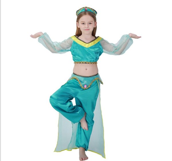 halloween party cosplay kid children girl princess jasmine costume Aladdin's lamp clothes clothing girls Movie Game anime role PS064