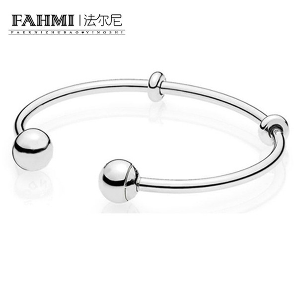 FAHMI Authentic 925 Sterling Silver Opening Bangles Classic Basic Smooth Bracelet Bangle Fit DIY Women Bead Charm 596477