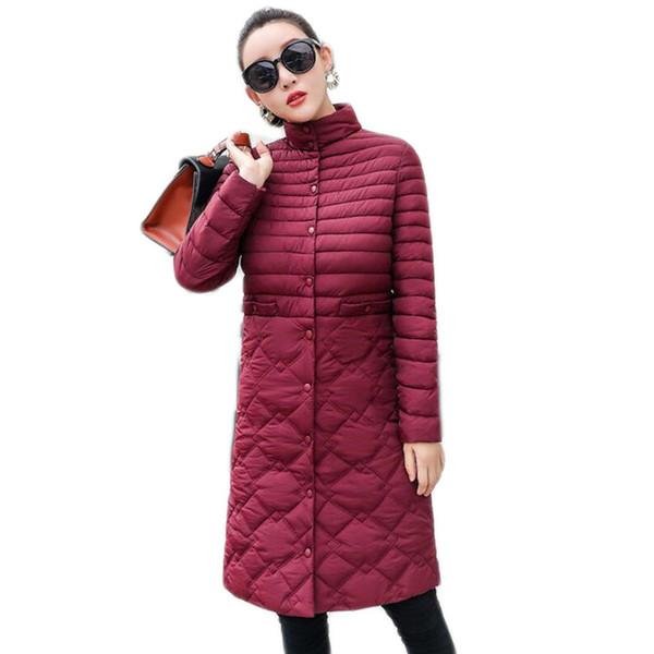 2018 Plus Size 5XL Fashion Women Winter Down Jackets Warm Long Slim Coat And Jacket Female Blue/black Ladies Snow Outwear B372