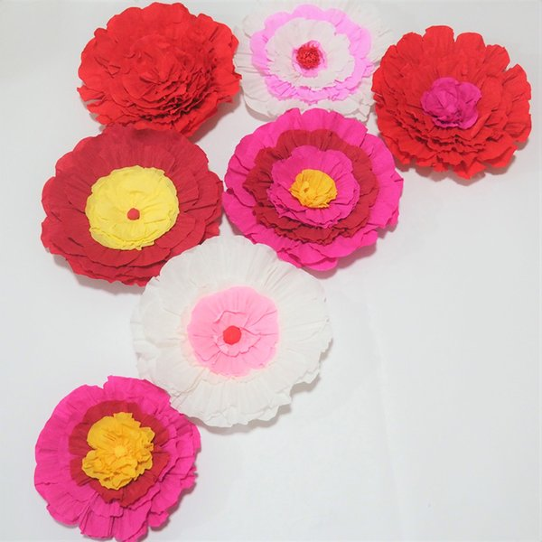 Giant Crepe Paper Flowers 7PCS For Wedding & Event Backdrop Decor Photography Windows Display Fashion Show Baby Nursery