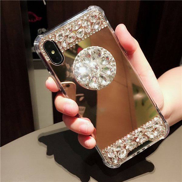 Bling Glitter Rhinestone Mirror phone Case For iphone X 6 6S 7 8 Plus Xs Max Xr Shockproof Airbag Cover Diamond Phone Holder Stand Bracket