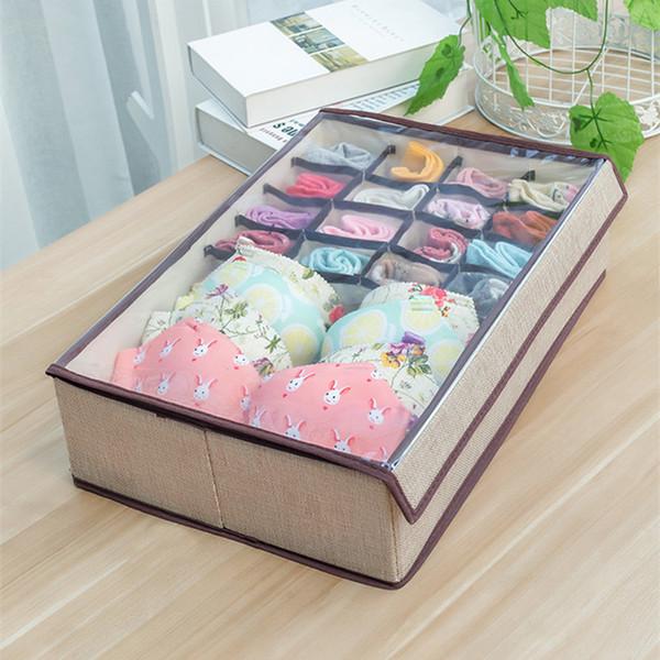 17 Grid Unterwäsche Sock Aufbewahrungsbox mit transparentem Deckel Home Schlafzimmer Leinen Aufbewahrungsboxen für Schals Socken Faltbarer BH Finishing Box Closet
