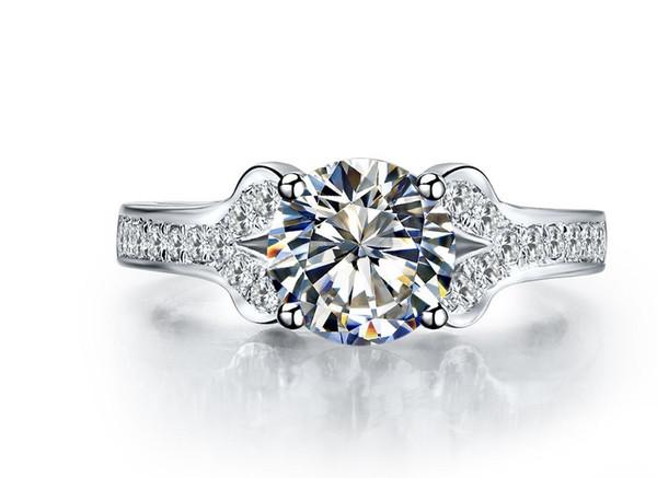 2CT Diamanti sintetici di qualità Anello di marca d'amore Anello in argento sterling solido Promessa Anello di fidanzamento Colore oro bianco I migliori gioielli
