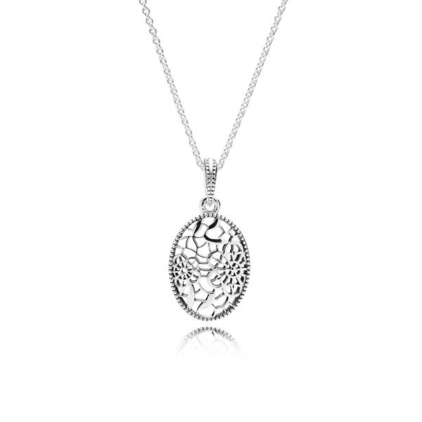 Réel 925 Sterling Silver Floral Daisy Lace Original Nouveau Collier Pour Les Femmes Charme Perle Cadeau BRICOLAGE Fabrication de Bijoux