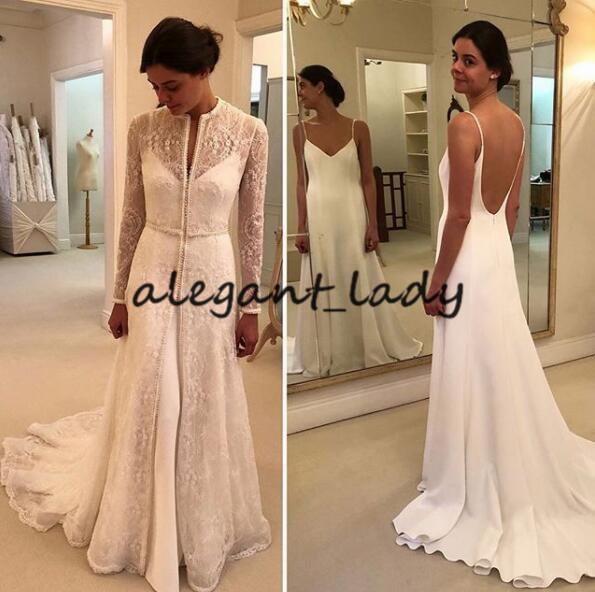 2019 Winter Outdoor Wedding Dresses with Long Lace Jacket Wrap Two Pieces Stain Sweep Train Garden Church Elegant Bridal Wedding Gown