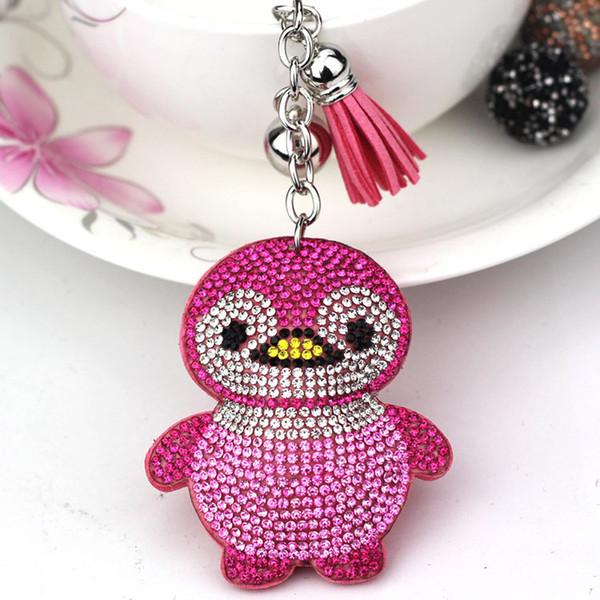 Creative gift cartoon bag tassel pendant new penguin keychain Korean velvet hot diamond crystal key ring car key chain