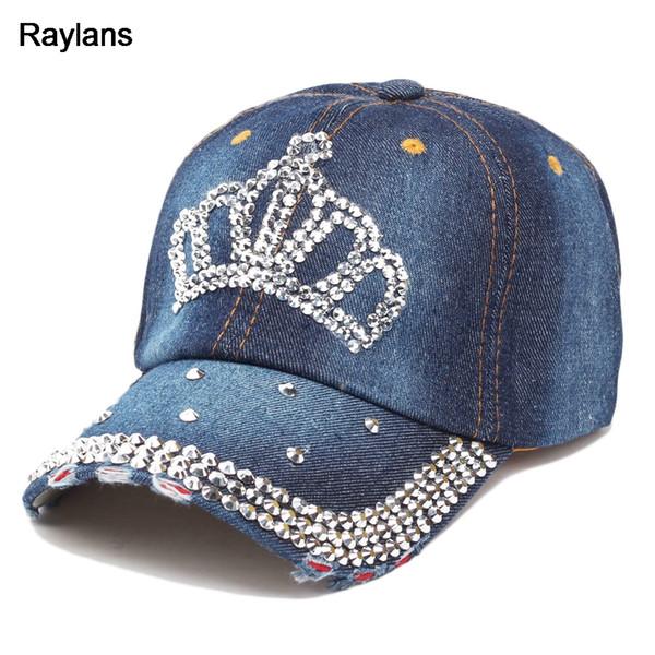 Raylans Ajustável Mulheres Senhora Rhinestone Cristal Bonés de Beisebol Denim Chapéus