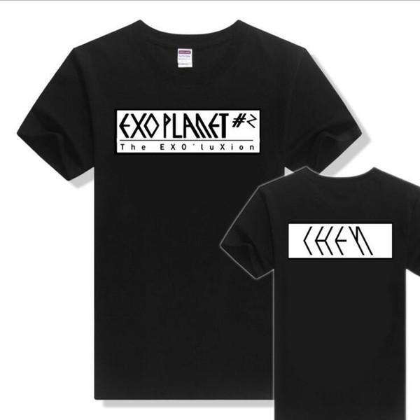 Kpop EXO Group Tops T Shirt Women & Men 2018 Summer Korean Ulzzang Harajuku Letter Printed Short Sleeve Cotton T-Shirt Plus Size