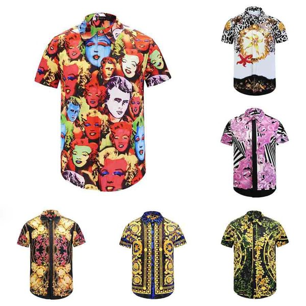 best selling Wholesa-newest 2017 fashion Wave Of Men 3D Floral Print Colour Mixture Luxury Casual Hara juku Shirts Short sleeve Medusa Shirts M--3XL