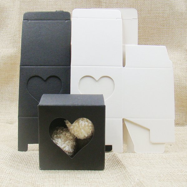 50pcs 5 *5 *5cm White /Black Heart Shaped Window Cupcake Boxes New Style Single Cookies Display Boxes Wedding Candy Faovr Box