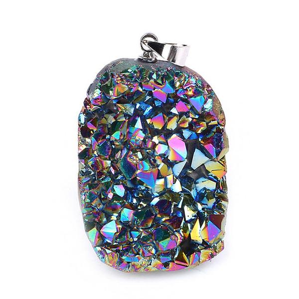 5 piezas de titanio ópalo blanco cristal mineral crudo cuarzo geoda Druzy colgante para hacer joyería collar chakra péndulo de piedra natural