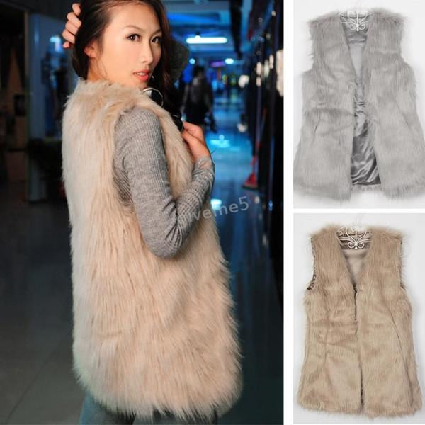 Holiday Sale Women Faux Fur Vest Winter Warm Coat Outwear Long Hair Jacket Waistcoat Tops Plus Size S-3XL SV20