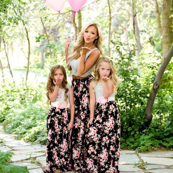 Mommy and Me Family Matching Mother Daughter Dresses Clothes Striped Mom Daughter Dress Kids Parent Child Outfits Look