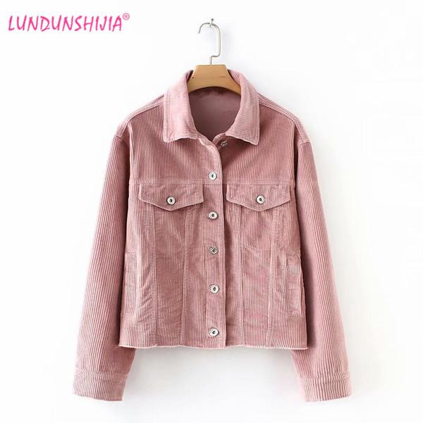 Großhandel LUNDUNSHIJIA Super Lose Rosa Cord Damen Jacke 2018 Neue Ankunft Herbst Jacken Damen Niedlich Oberbekleidung Weiblichen Mantel Von Bigseaa,