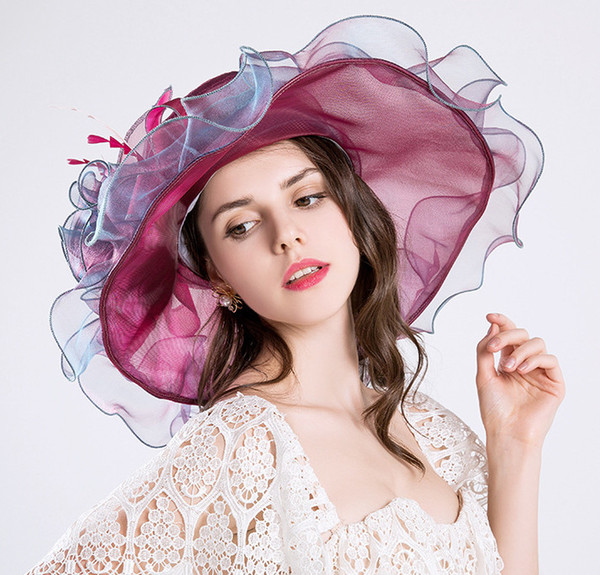 6 Colors Fashion Summer Organza Sun Hats For Women Elegant Laides Church Vintage Hat Wide Large Brim With Big Flower
