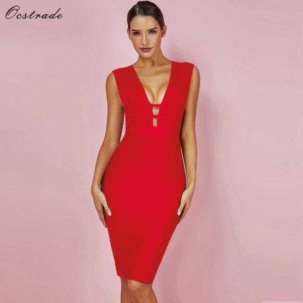 Ocstrade sexy vestiti dalla fasciatura di Natale per le donne 2018 profondo scollo a V partito dalla fasciatura rosso Vestito cut-out Rayon aderente