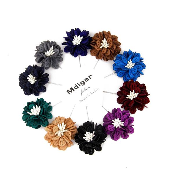 Noivo dos homens Tecido Handmade Folha De Metal Broches Do Vintage Lapela Broche de Pino Bouquet Corsage Floral Para O Casamento 100 Pçs / lote