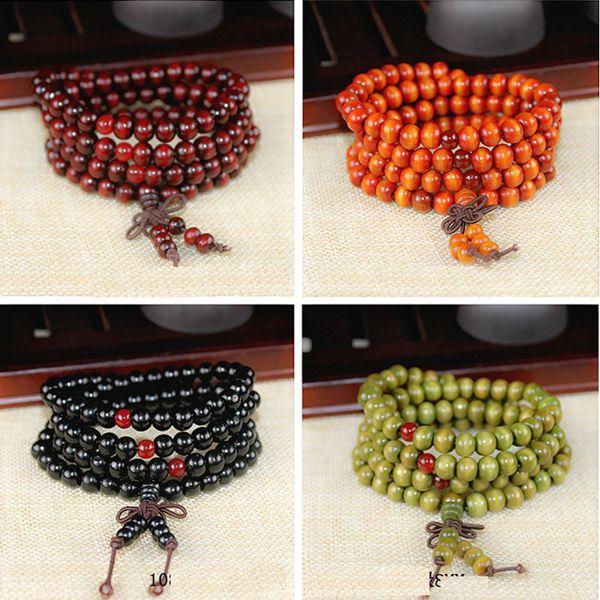 10 Beads Buddhist Beads Bracelet 8mm Natural Red Sandalwood Prayer Rosary Mala Tibetan Buddhist Meditation Wood Rosary Beaded Bracelet