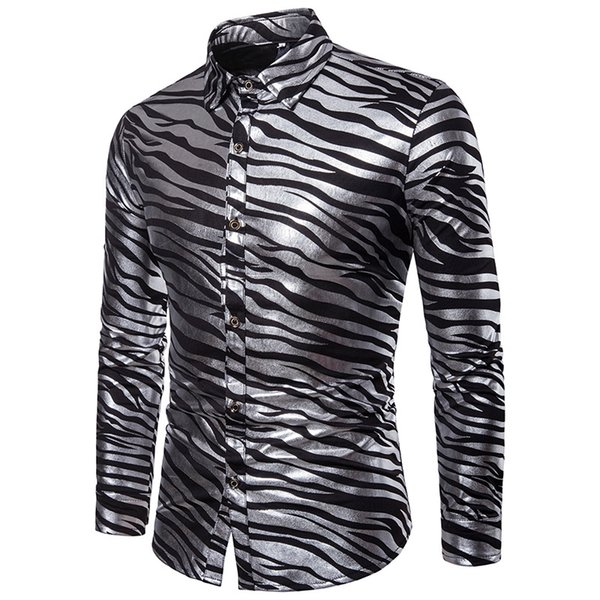 Fashion Men Slim Fit Long Sleeve Shiny Shirt Red White Black Striped Casual Business Shirt Tops Plus Size S-XXL Camisa Masculina