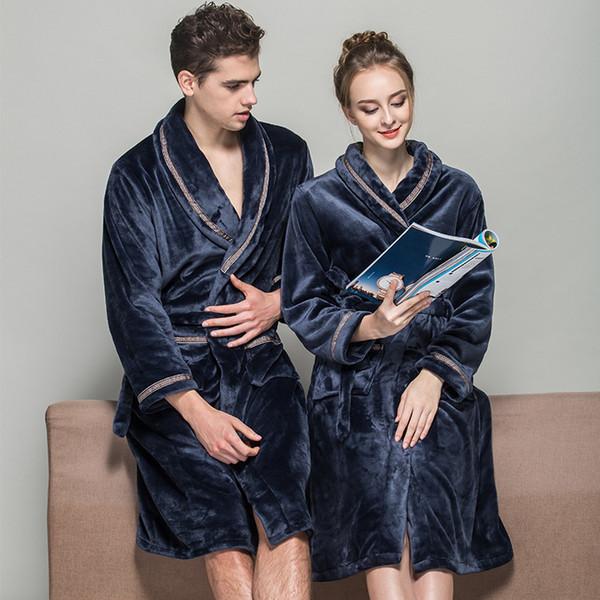 2017 Inverno Coppia Robes Donna Moda Fuzzy Flanella Ispessimento Accappatoio Caldo Accappatoio Sleepwear Blu Rosso