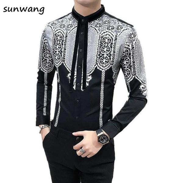 Sunwang Mens Plus Velvet shirts High Quality Men Shirts 2017 Fashion Long Sleeve  Printed Male Clothing Asian Size M-3XL