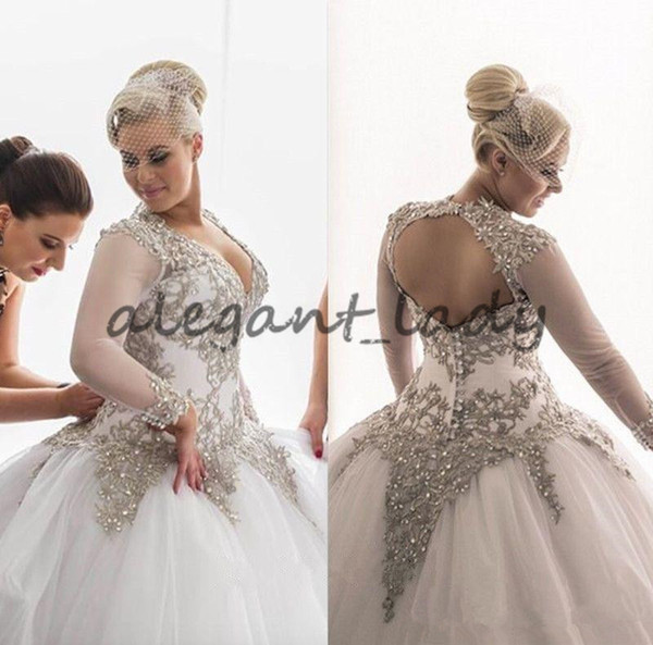 Plus Size Modest Long Sleeves Wedding Dresses Rhinestones Crystals Beaded Bridal Gowns Backless Sheer Ball Gown Wedding Dresses Plus Size