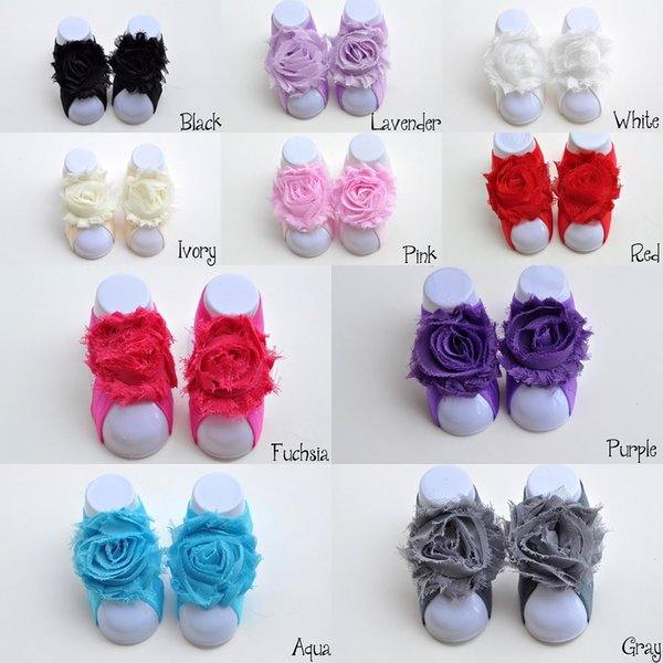 10 Colors Shabby Flower Baby Barefoot Sandals for Summer Pre-Walker Infant Toddler Baby Shoes Newborn Baby Shower Gift