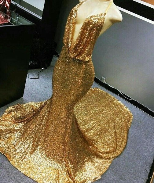 2018 sexy cheap plus size gold prom dresses formal evening gowns dresses mermaid sequined prom dress