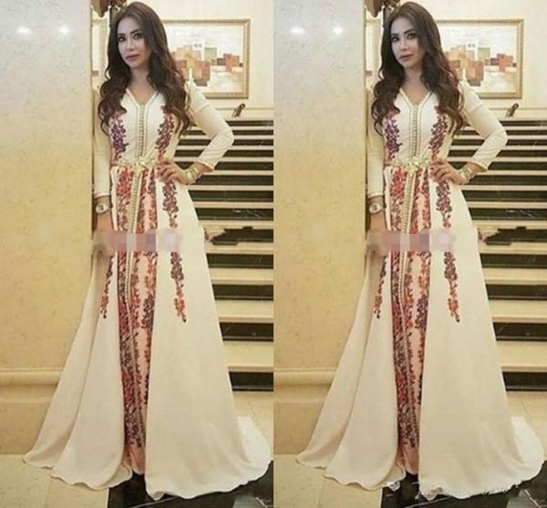 Erstaunlich Kaftan Abendkleider marokkanische Kaftan V-Ausschnitt Gelegenheit formal Abschlussball-Kleider Dubai Abaya Arabisch lange Hülsen-Partei-Kleid