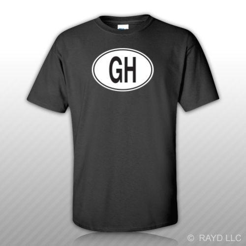 GH Code pays Ghana T-shirt ovale Tee shirt Autocollant gratuit Euro ghanéen