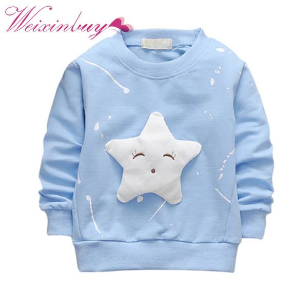 Kinder Frühling Herbst Baumwolle Langarm Sweatshirt Star Pattern Casual Pullover Kinder Jungen Mädchen Kleidung Kleidung