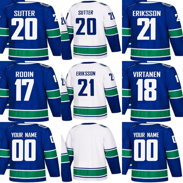 Outlet Factory Uomo Donna Bambino Vancouver Canucks 17 Anton Rodin 18 Jake Virtanen 20 Brandon Sutter 21 Loui Eriksson Stitched Hockey Jerseys